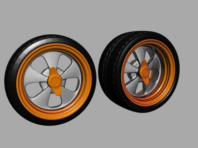 spoke wheel tire rims 3d model