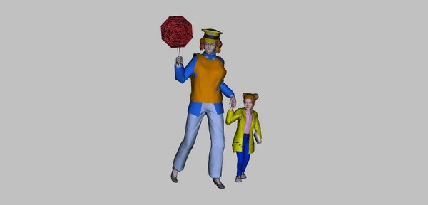 3d crossing guard model