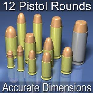 3d model of pistol bullet ammunition