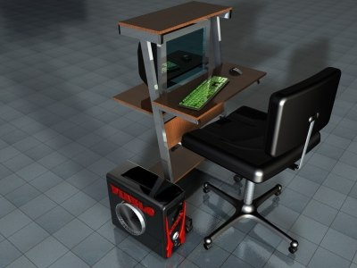 3d model chair desk computer