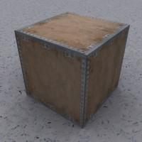 wooden box crate 3d model