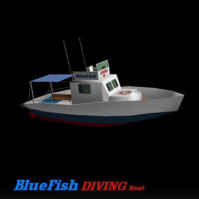 3ds diving motorboat