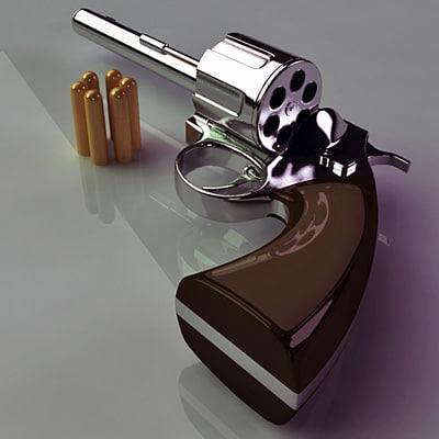 3d revolver handgun