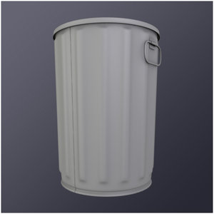 steel trash cans 3d 3ds