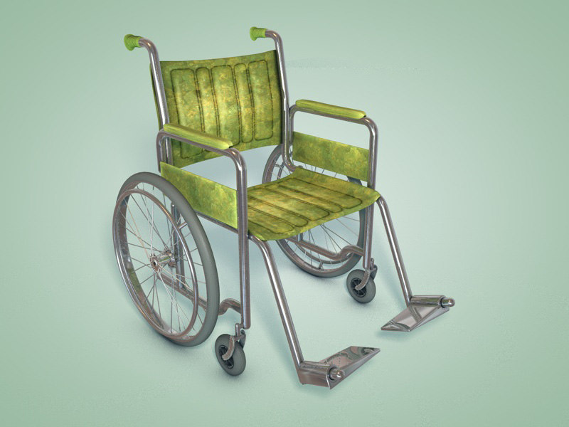 old fashioned wheelchair wheels 3d model
