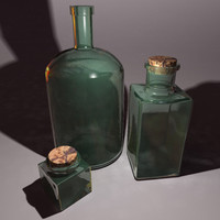 old glass bottles 3d max