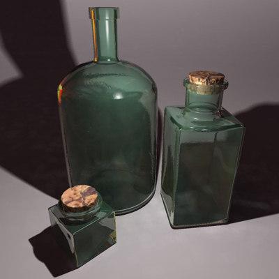 old glass bottles 3d max