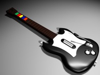 Guitar Hero Gibson SG black and white (MAX, 3DS, OBJ)