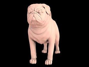 3d model realistic dogs pug