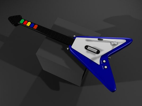 realistic guitar hero flying v 3d max