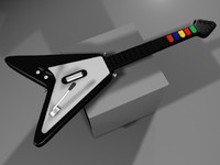 3d realistic guitar hero flying v