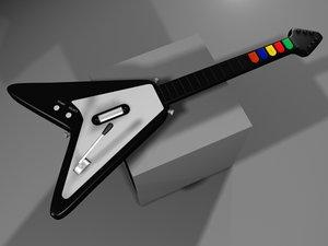 3d realistic guitar hero flying v