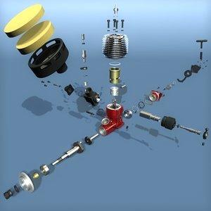 3d engine radio controlled model
