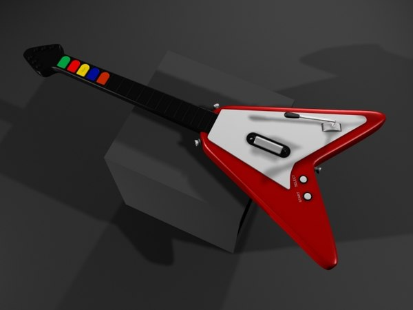 realistic guitar hero flying v 3d model