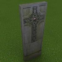 Celtic cross gravestone 3d model