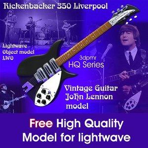 guitar lightwave beatles 3d model