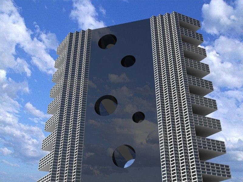futuristic building 4 3d 3ds