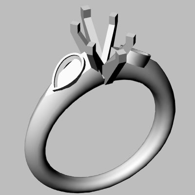 3d wedding band jewel model
