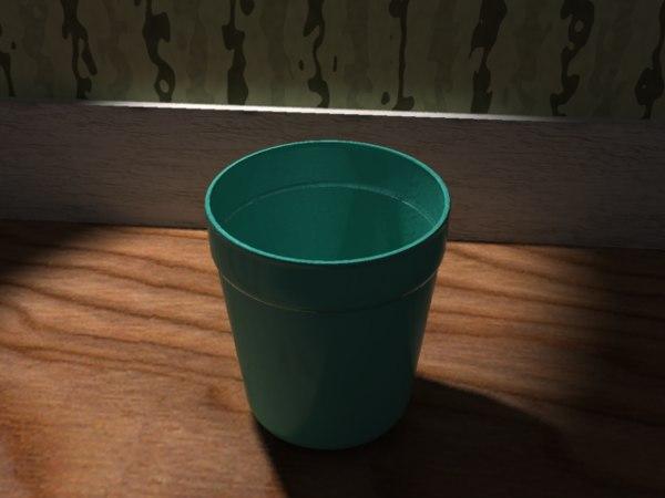 3d green plastic cup