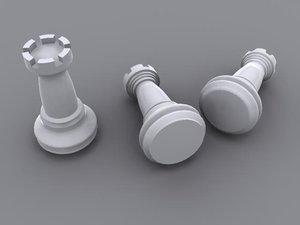 3d rook chess piece model