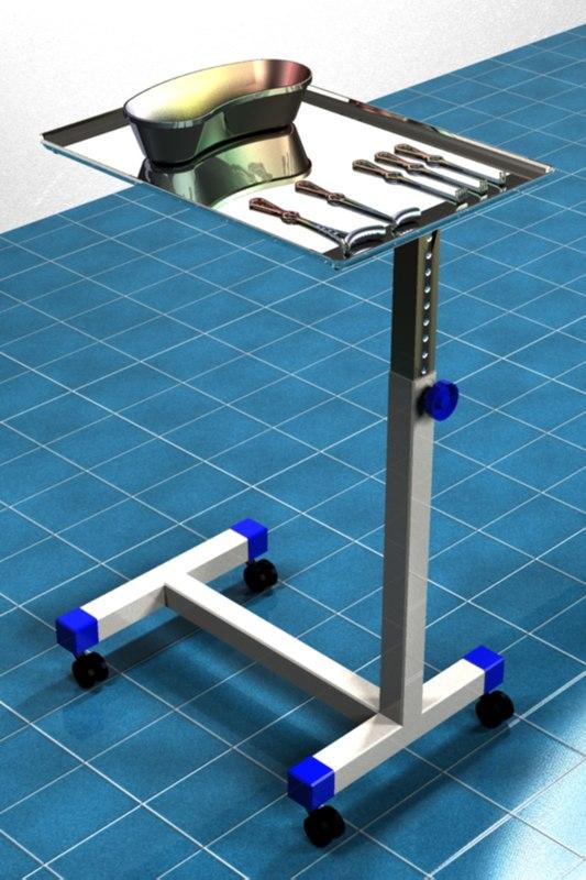 3d model mayo surgical cart retractors