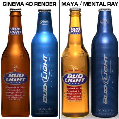 3d budlight bottles model