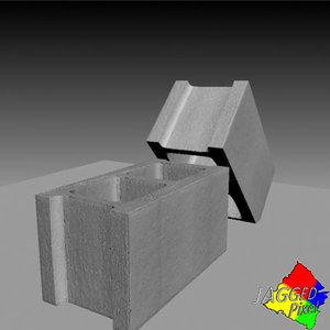 3d cinder block model
