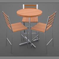 modern cafe table set 3d 3ds