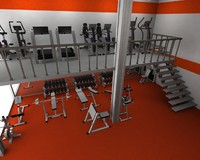 3d gym interior fitness dumbells model