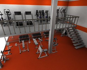 3d gym interior fitness dumbells model