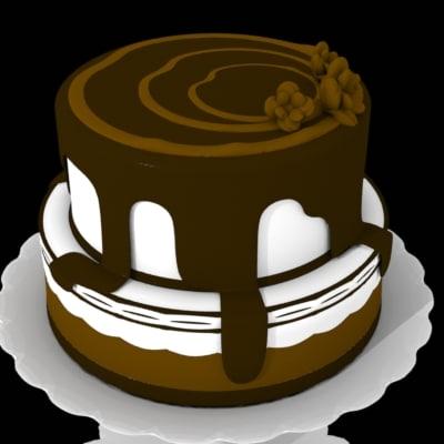 chocolate drip cake 3d obj