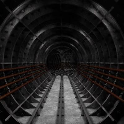 3d model of underground rail tunnel