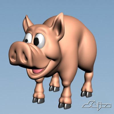 cute pig 3d model