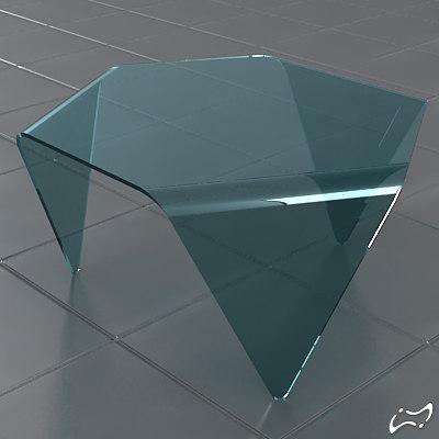 hexagonal table glass obj