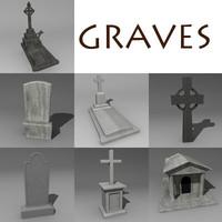 graves gravestone 3d model