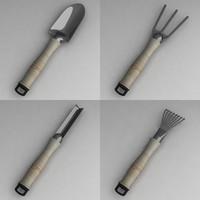 garden tools 3d obj