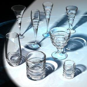 3d drinking glasses model