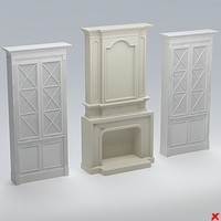 3d model of fireplace furniture