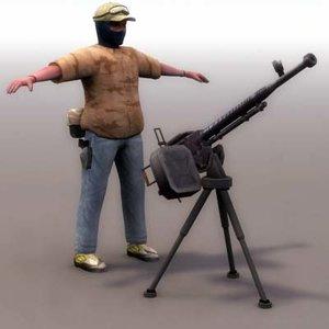 3d model terrorist dshk