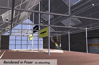poser showroom factory interior cars 3d model