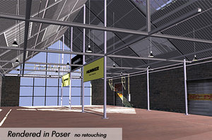 poser showroom factory interior cars 3d model