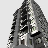 apartment flats building 3d model