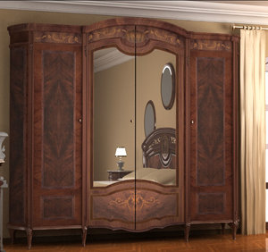 old style wardrobe bed room 3d model