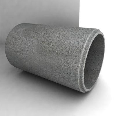 concrete pipe 3d model