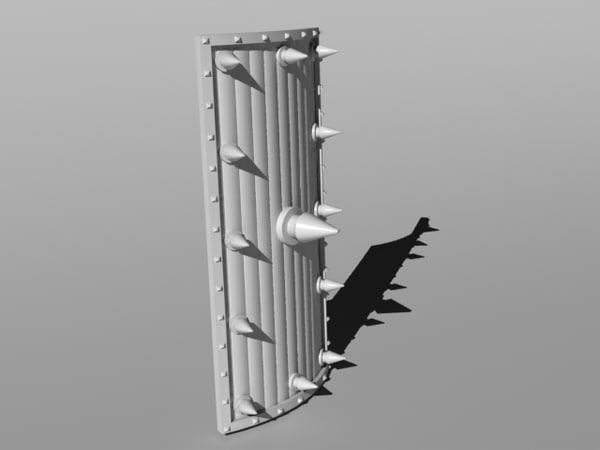 spiked shield 3d dxf
