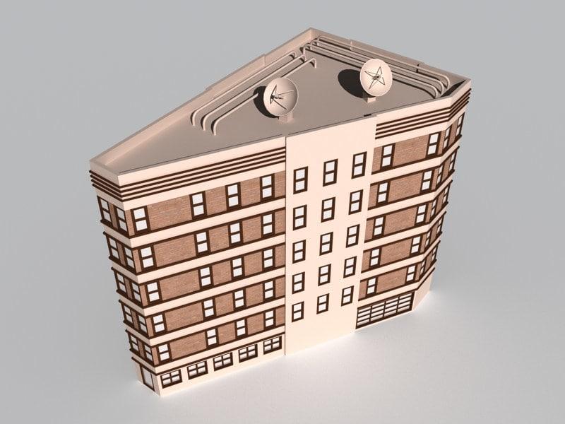 triangular building 2 3d model