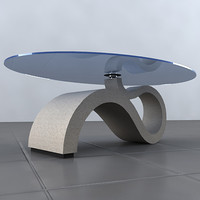 3d stone glass table