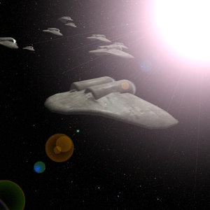 3d space fighter fleet animating model