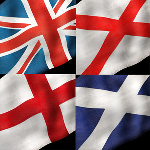3d british flags