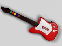 realistic guitar hero red rock 3d model